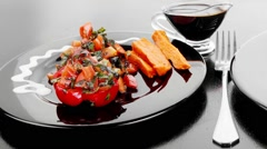 Beef meat steak barbecue garnished with vegetable salad sweet potato and basil Stock Footage