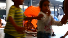Illegal Immigrants camping at the Keleti Trainstation in Budapest Stock Footage