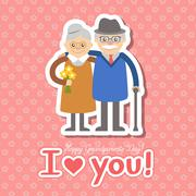 Vector illustration. Happy grandparents day. - stock illustration