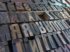 Medium Close up Large Metal Block Type Letters Stock Photos