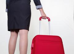 Businesswoman with hand luggage Stock Photos