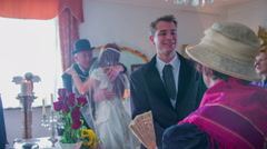 Stock Video Footage of Congratulating a young just married couple