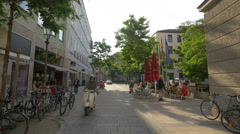Restaurants and shops on Theatinerstrasse, Munich Stock Footage