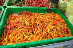 Stock Photo of Chilli pepper on the stall in the market, asian herbs