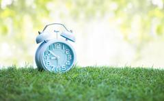 Cute blue alarm clock on green grass, white background - stock photo