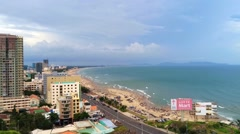 Vung Tau Beach with a lot of people Stock Footage