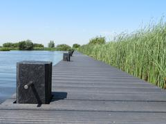 Jetties for watertourists in Friesland (Holland) - stock photo