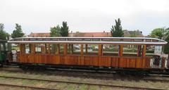 Clasic Railway wagon for tourists from Medemblik to Hoorn - stock photo