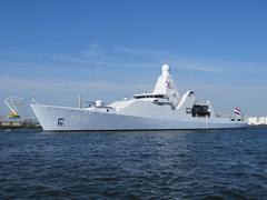 Dutch marin patrol vessel in Amsterdam (P 842) Stock Photos