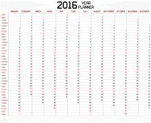Year 2016 Planner - stock illustration