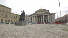 The Bavarian State Opera and the Maximilian Joseph of Bavaria statue in Munich Stock Footage
