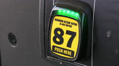 87 Octane Rating Button Pumping Gasoline Into Car at Gas Station, 4K Stock Footage
