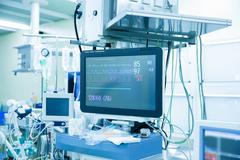 Vital functions (vital signs) monitor in an operating room Stock Photos