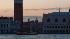 Sunset time-lapse of Saint Mark Square from San Giorgio Island. Cropped. Stock Footage