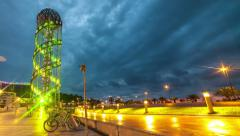 Batumi, GEORGIA - 28 August 2015: Alphabet Tower on the boulevard Stock Footage