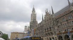 Street view of the New Town Hall in Munich Stock Footage