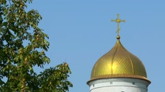 The dome of the Orthodox church nearby chestnut tree Stock Footage