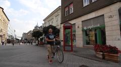Scene on a pedestrian street in Gyor, Hungary Stock Footage