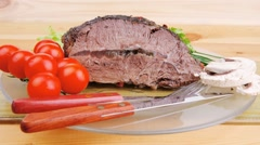 Hot beef on transparent plate Stock Footage