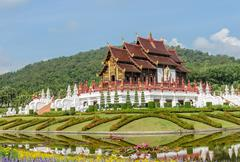 Thai Lanna architecture in Chiang Mai, Thailand - stock photo