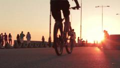 Promenade in big city at sunset Stock Footage