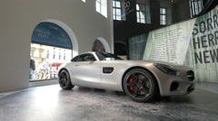 The New Mercedes-AMG GT shown in a gallery in Munich Stock Footage
