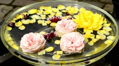 Bowl with water and swimming flowers Stock Footage