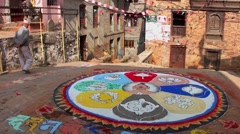 Buddhist mandala on the street in Kirtipur, Nepal Stock Footage