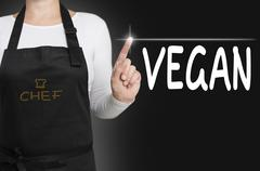 Stock Photo of background concept cook vegan touchscreen