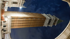 Vertical time-lapse of the tower in Saint Mark's Square at night. Stock Footage