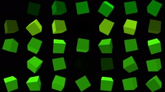 Flashing,rotating cubes in green Stock Footage