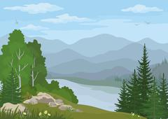 Landscape with Trees and Mountain Lake Stock Illustration