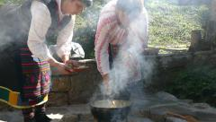 Wedding ritual cooking corn. Stock Footage