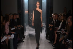 Fashion models walking on runway for Donna Karan Collection - stock footage