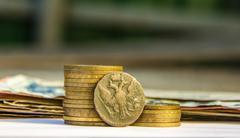 Financial pyramid, stock market crash, the monetary growth Stock Photos
