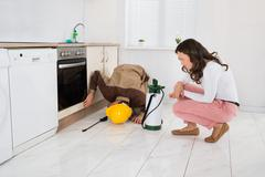 Young Woman And Worker With Pesticide Sprayer In Kitchen At Home - stock photo