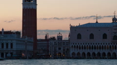 Silhouette time-lapse of Saint Mark Square at night from San Giorgio. Cropped. Stock Footage