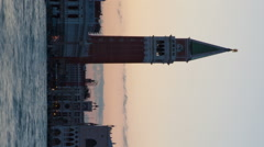 Vertical shot of Silhouette time-lapse of Saint Mark Square at night from San Stock Footage