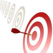 Red dart on the bull eye - stock illustration