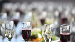 Glasses on a buffet table Stock Footage