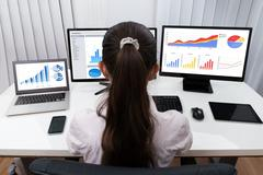 Rear View Of Businesswoman Analyzing Graphs On Multiple Computers At Desk Stock Photos