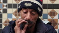 Homeless smoking Stock Footage
