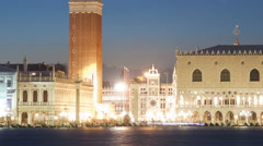 Saint Mark Square time-lapse at night from San Giorgio. Cropped. Stock Footage