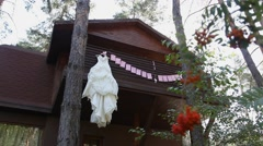 Wedding dress on a wooden house Stock Footage