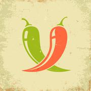 two chili peppers - stock illustration