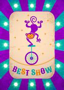 Retro circus poster with monkey on bicycle Stock Illustration