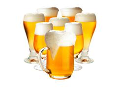 Glasses of beer isolated over white- excellent quality - stock photo