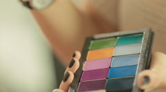 Palette with bright professional eyeshadow Stock Footage