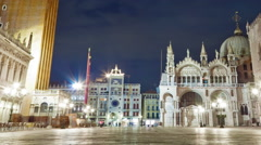 Nigthtime Saint Mark Square time-lapse in the square. Cropped. Stock Footage