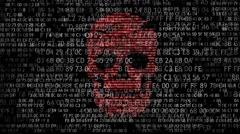 Concept of computer security. The skull of the hexadecimal code. Pirate online. - stock footage